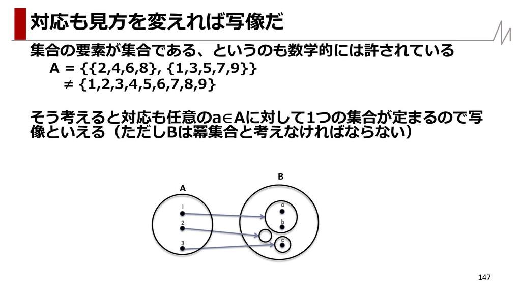 集合の要素が集合である、というのも数学的には許されている A = {{2,4,6,8}, {1...