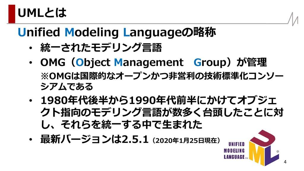 Unified Modeling Languageの略称 • 統一されたモデリング言語 • O...