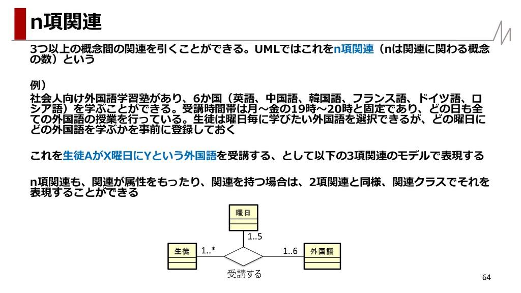 3つ以上の概念間の関連を引くことができる。UMLではこれをn項関連(nは関連に関わる概念 の数...