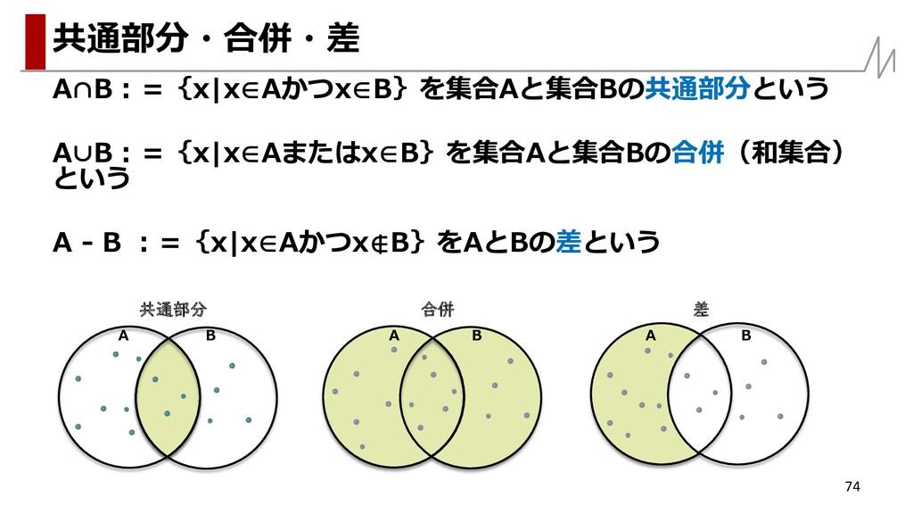 A∩B:={x x∈Aかつx∈B}を集合Aと集合Bの共通部分という A∪B:={x x∈Aまた...