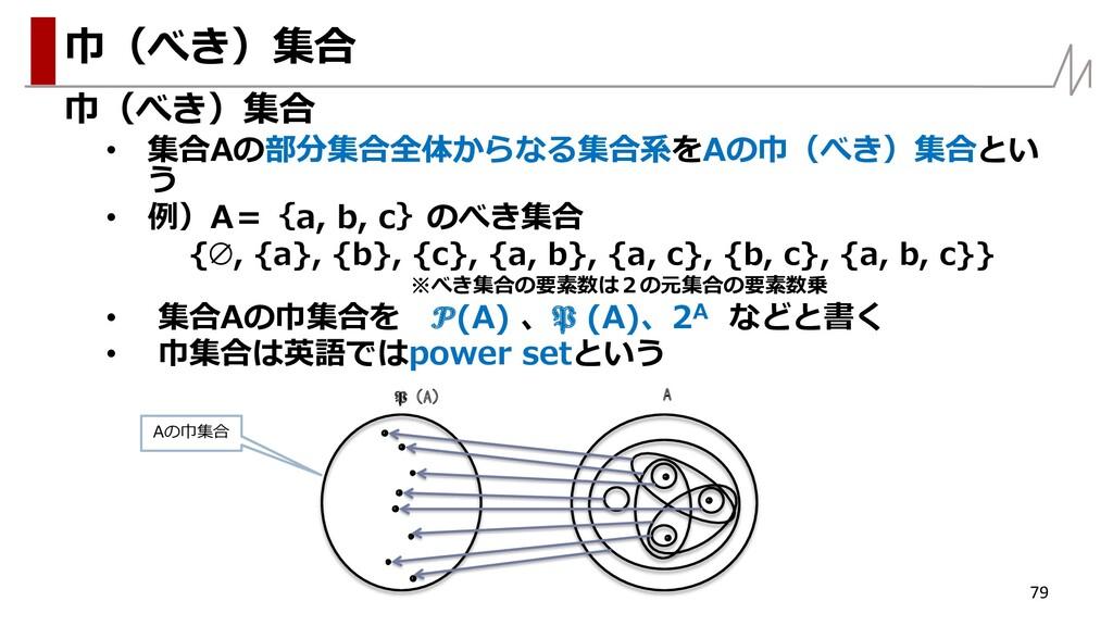 巾(べき)集合 • 集合Aの部分集合全体からなる集合系をAの巾(べき)集合とい う • 例)A...
