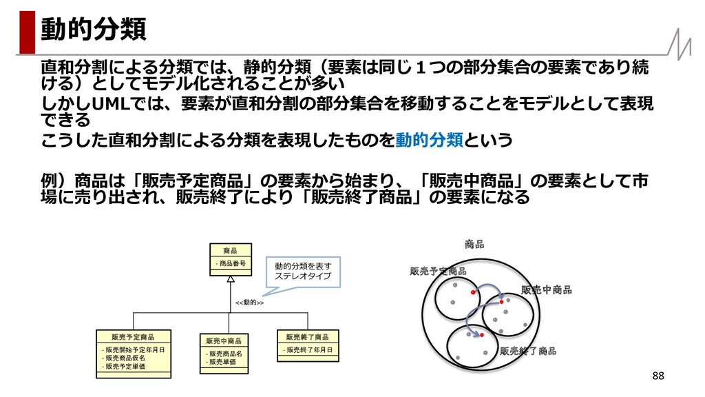 直和分割による分類では、静的分類(要素は同じ1つの部分集合の要素であり続 ける)としてモデル化...