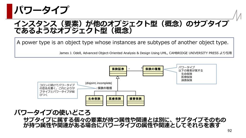 インスタンス(要素)が他のオブジェクト型(概念)のサブタイプ であるようなオブジェクト型(概念...