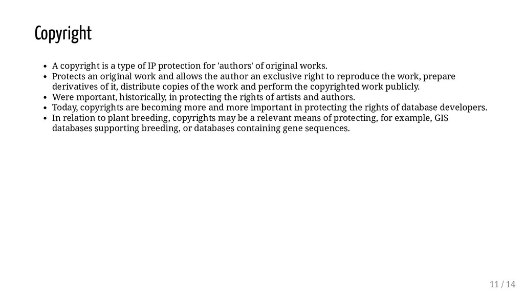 Copyright A copyright is a type of IP protectio...