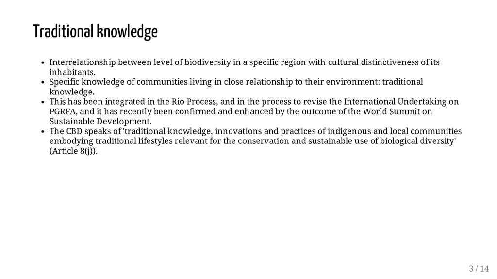 Traditional knowledge Interrelationship between...