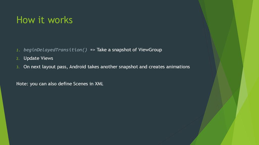 How it works 1. beginDelayedTransition() => Tak...