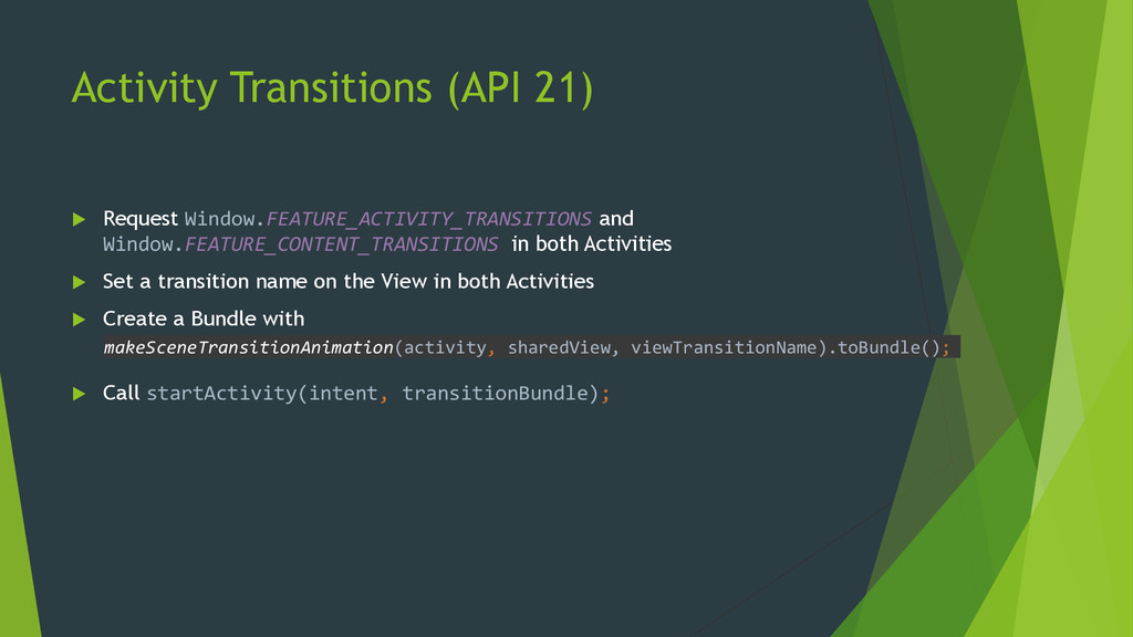Activity Transitions (API 21)  Request Window....