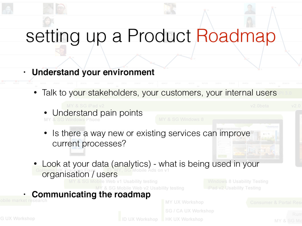 setting up a Product Roadmap • Understand your ...