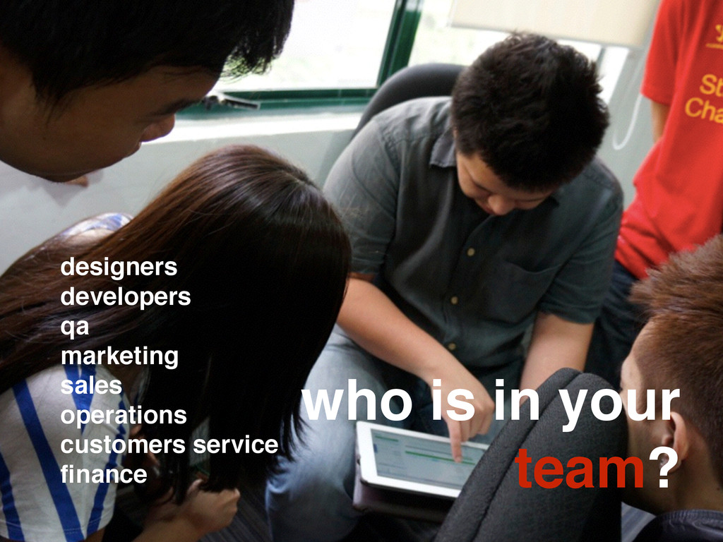 who is in your team? designers developers qa ma...