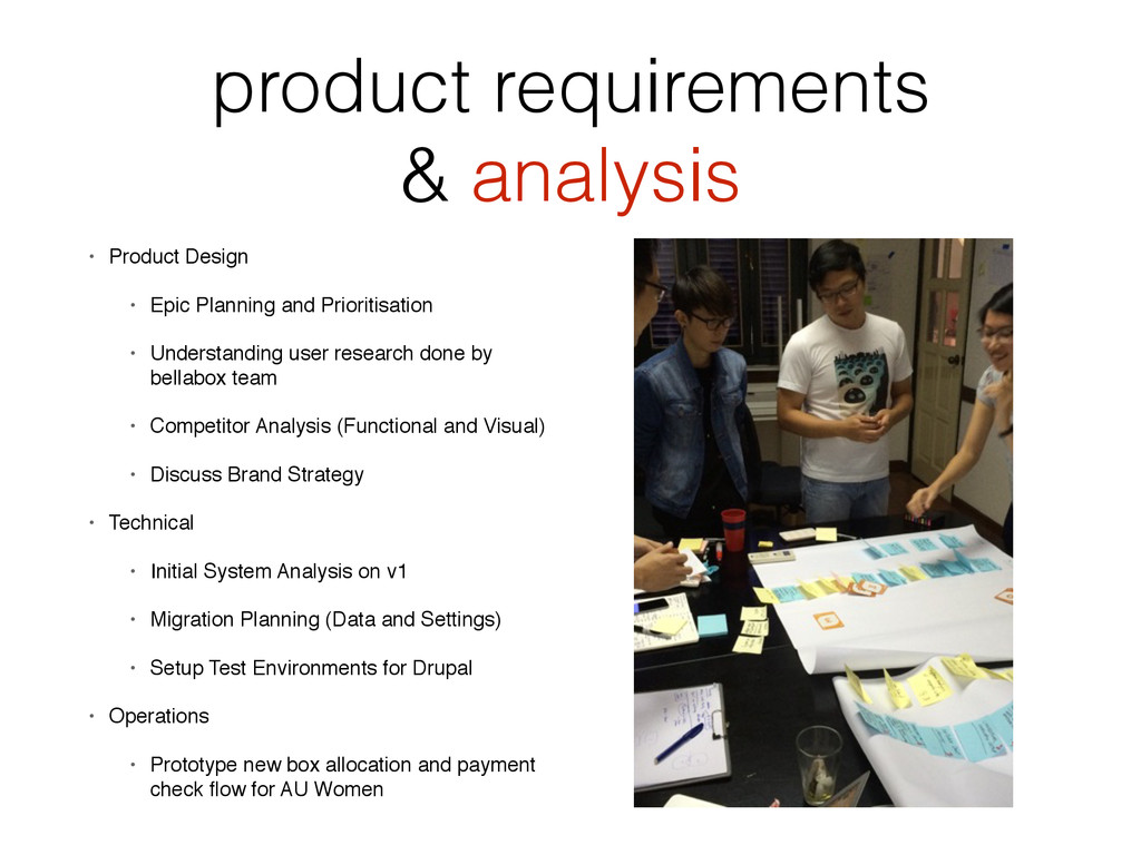 product requirements & analysis • Product Desig...