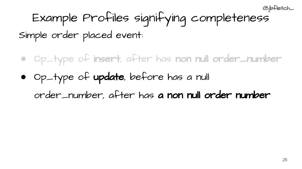 Example Profiles signifying completeness Simple...