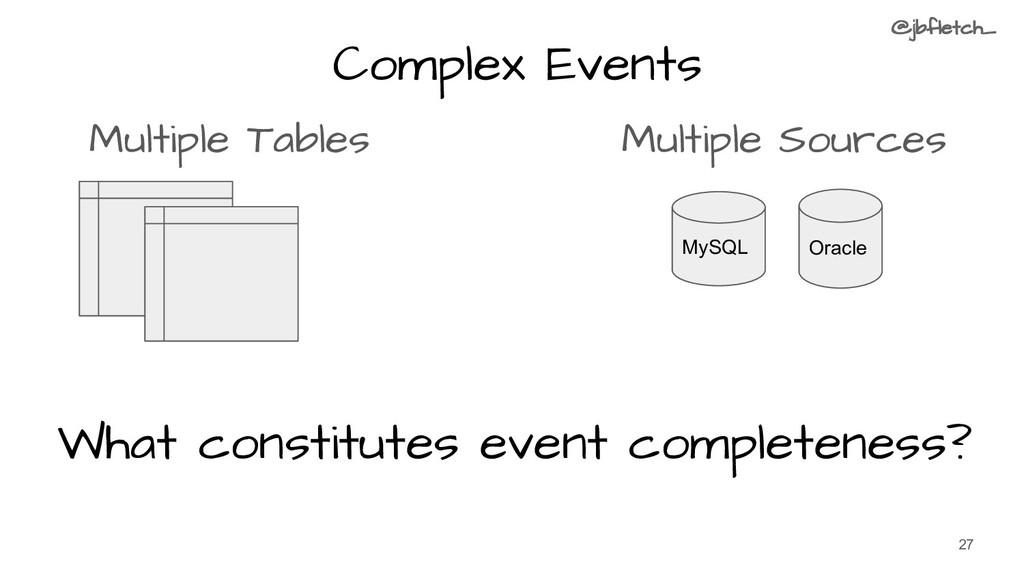Complex Events Multiple Tables Multiple Sources...