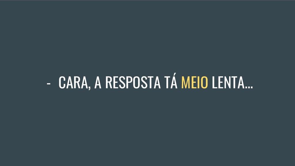 - CARA, A RESPOSTA TÁ MEIO LENTA...