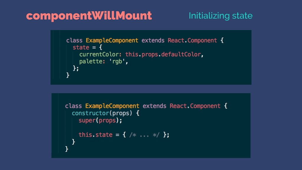 componentWillMount Initializing state