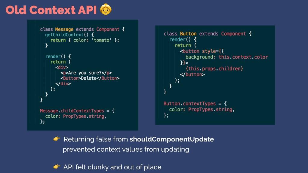 Old Context API   Returning false from shouldCo...