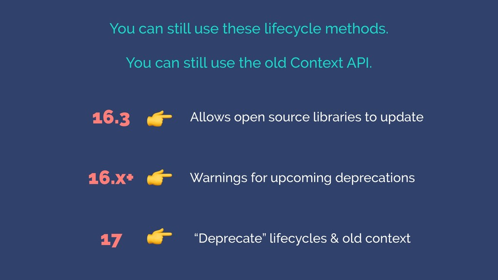 You can still use these lifecycle methods. You ...