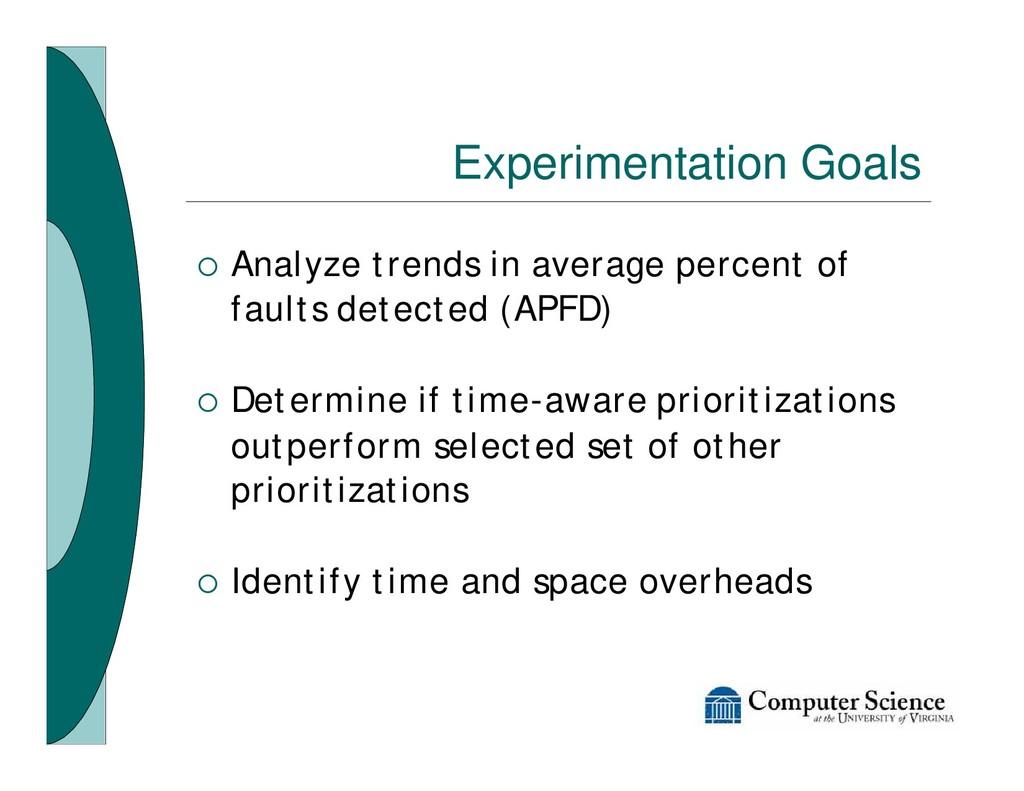 Experimentation Goals ¡ Analyze trends in avera...