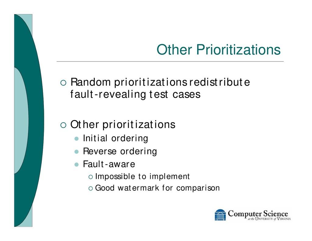 Other Prioritizations ¡ Random prioritizations ...