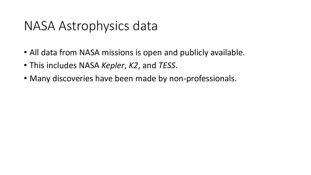 NASA Astrophysics data • All data from NASA mis...