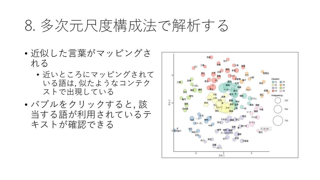 8. 多次元尺度構成法で解析する • 近似した言葉がマッピングさ れる • 近いところにマッピ...