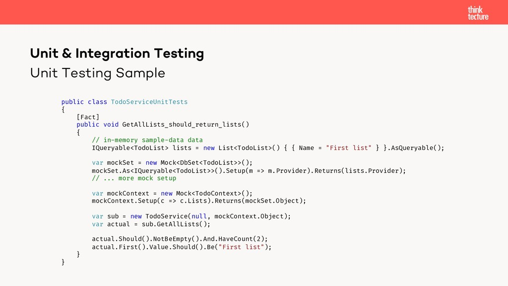 Unit Testing Sample Unit & Integration Testing ...