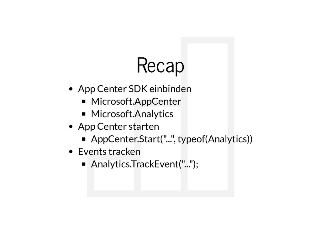 Recap Recap App Center SDK einbinden Microsoft....