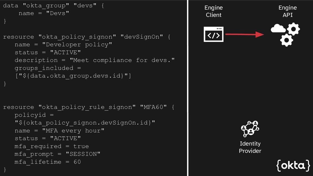 """data """"okta_group"""" """"devs"""" { name = """"Devs"""" } reso..."""