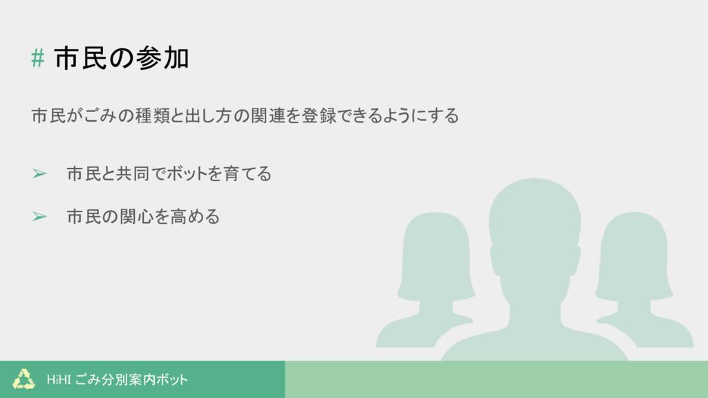 HiHI ごみ分別案内ボット # 市民の参加 市民がごみの種類と出し方の関連を登録できるように...