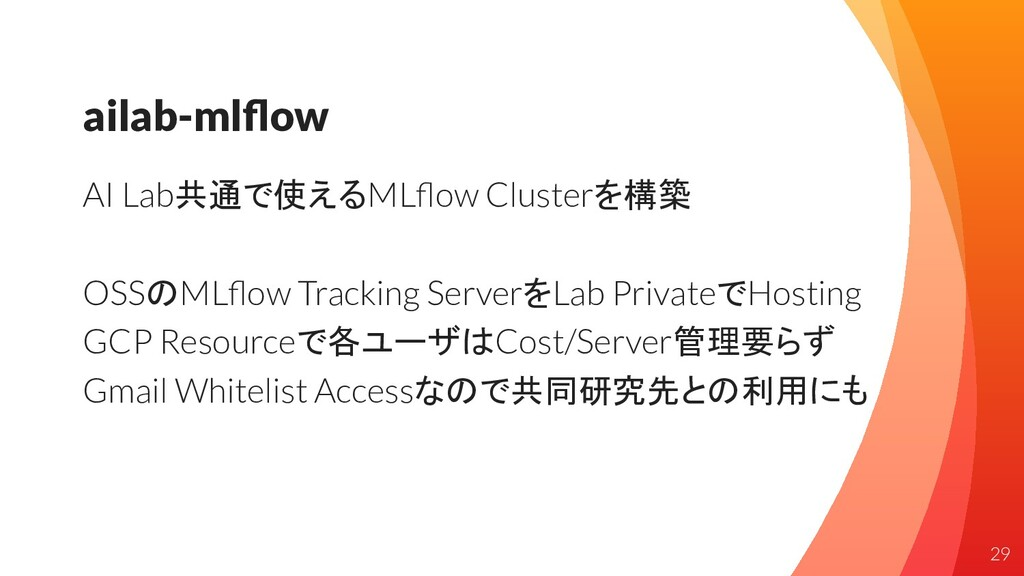 ailab-mlflow AI Lab共通で使えるMLflow Clusterを構築 OSSのML...