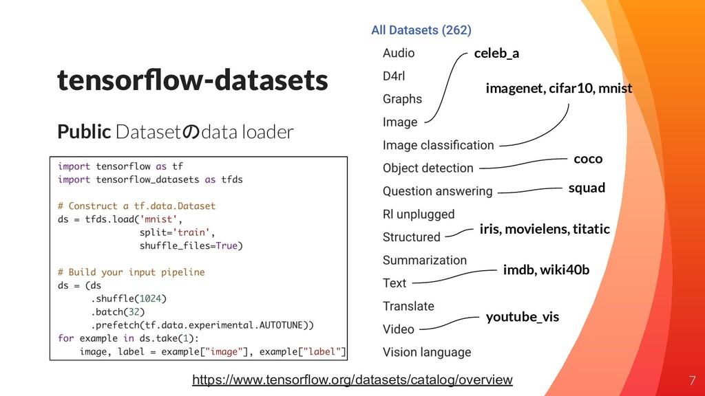 tensorflow-datasets Public Datasetのdata loader 7...