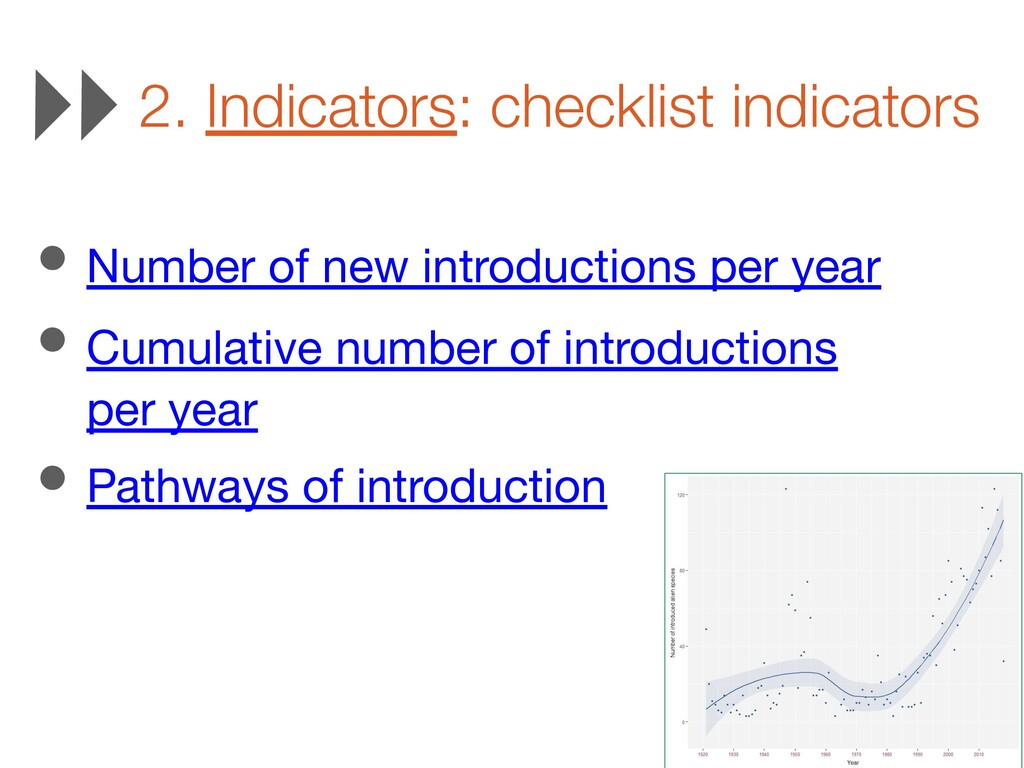 2. Indicators: checklist indicators • Number of...