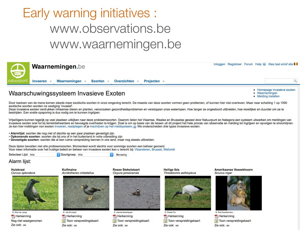 Early warning initiatives : www.observations.be...