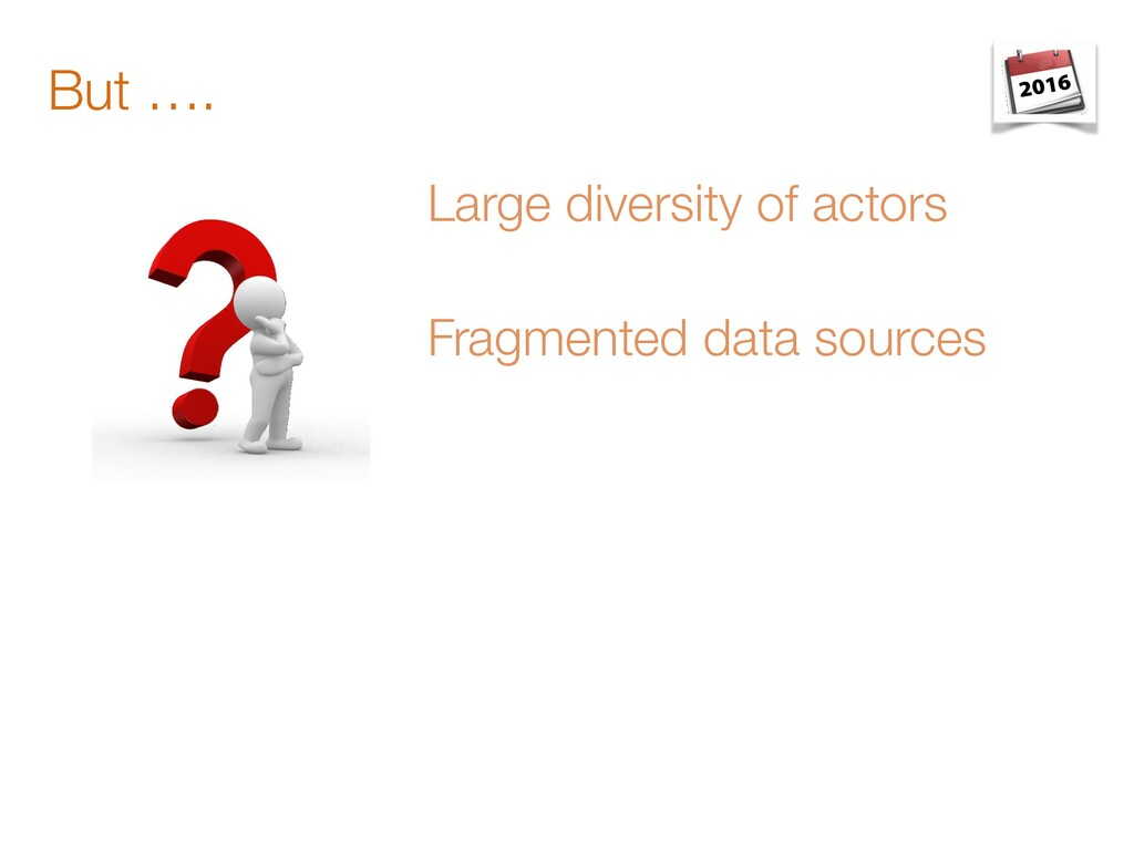 But …. Large diversity of actors Fragmented dat...