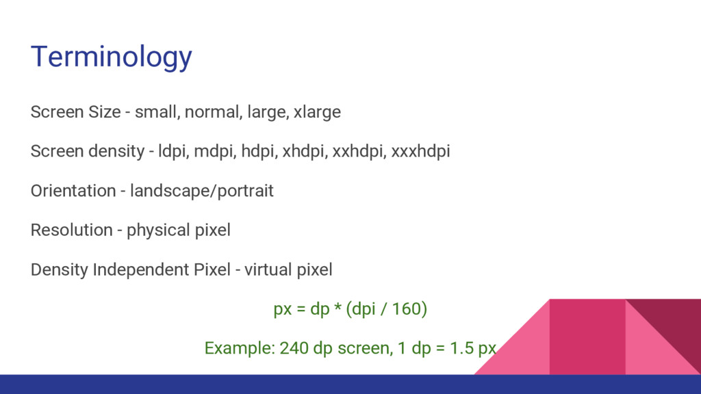 Terminology Screen Size - small, normal, large,...