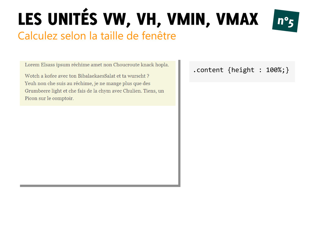 LES UNITÉS VW, VH, VMIN, VMAX Calculez selon la...