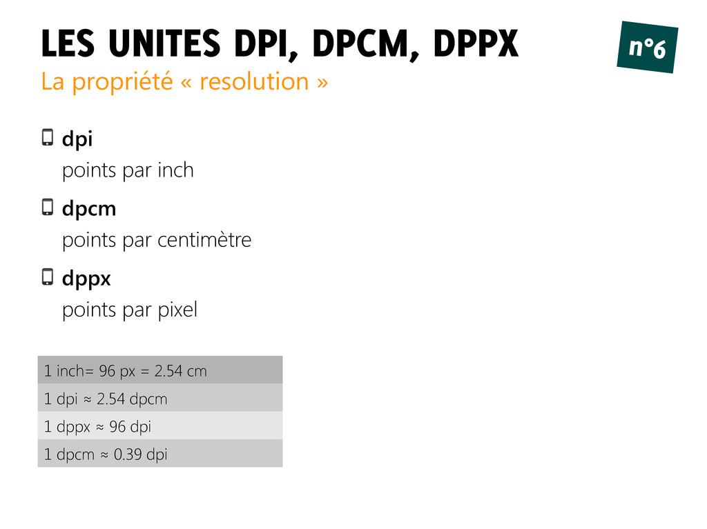 LES UNITES DPI, DPCM, DPPX La propriété « resol...