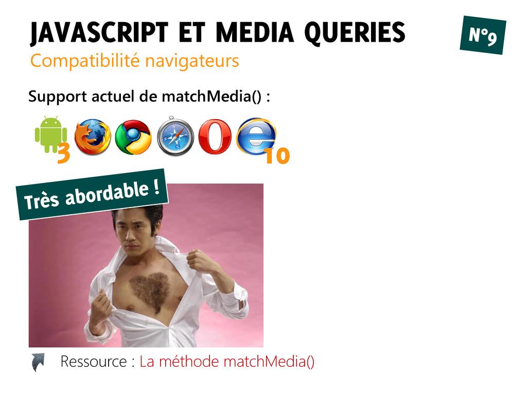 JAVASCRIPT ET MEDIA QUERIES Compatibilité navig...