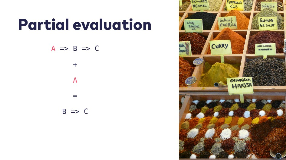 P a r t i a l e v a l u a t i o n A => B => C +...