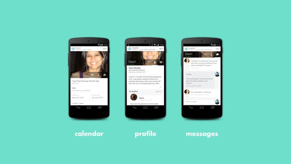 profile calendar messages