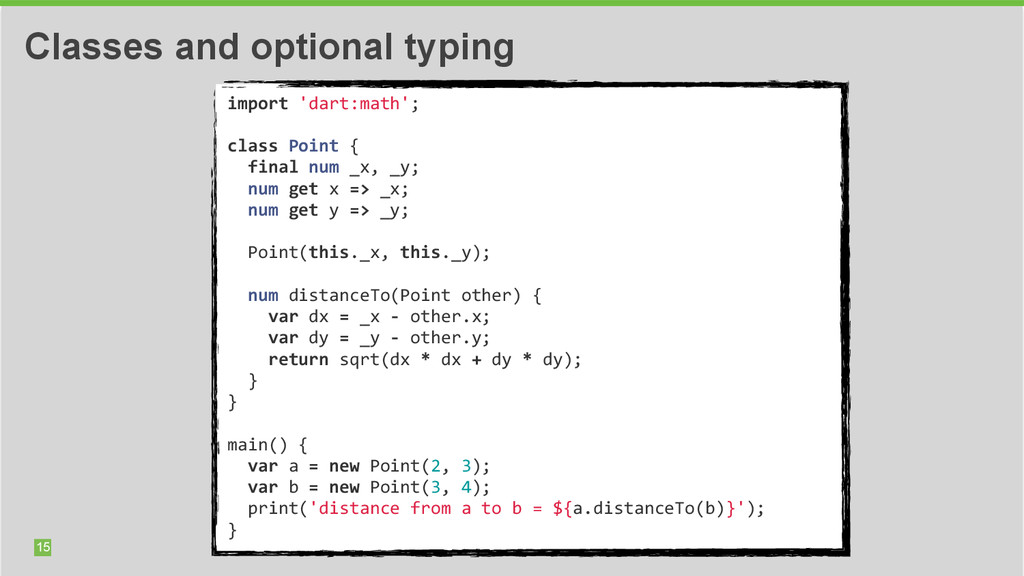 import 'dart:math'; class Point { ...