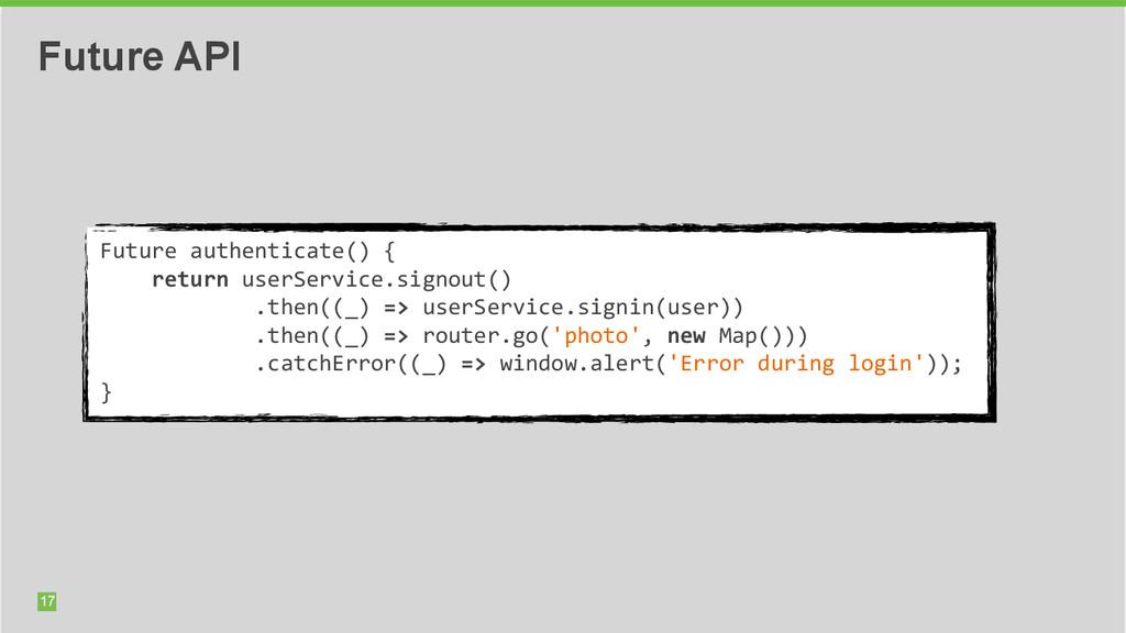 17 Future API Future authenticate() { ...