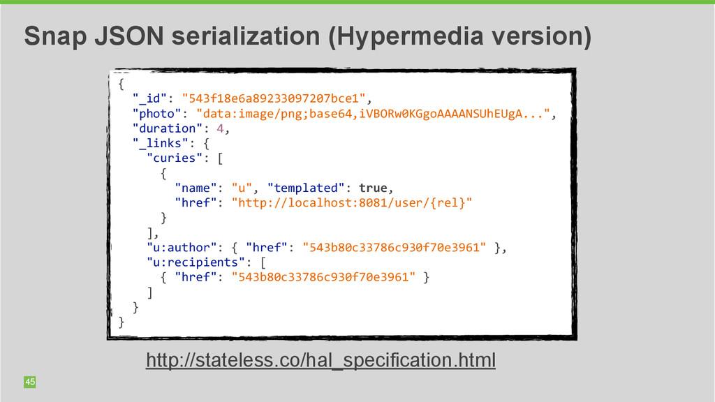 45 Snap JSON serialization (Hypermedia version)...