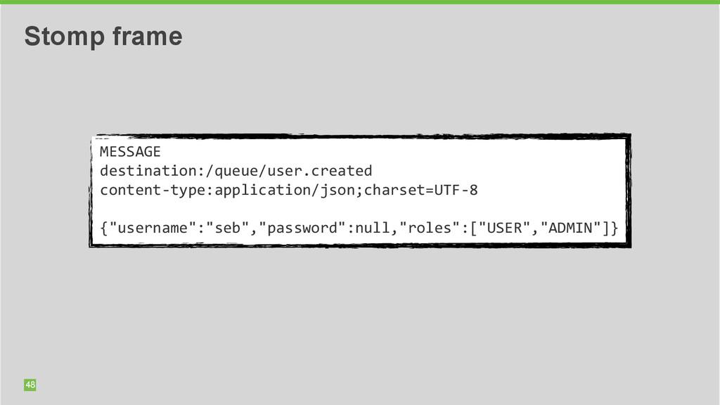 48 Stomp frame MESSAGE  destination:/queue/u...