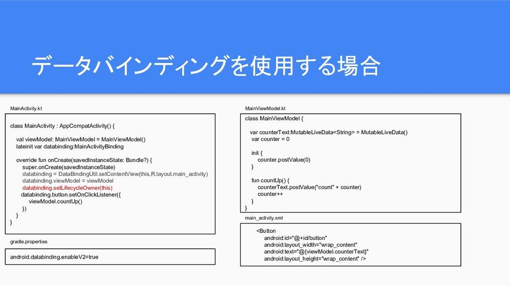 データバインディングを使用する場合 class MainActivity : AppCompa...