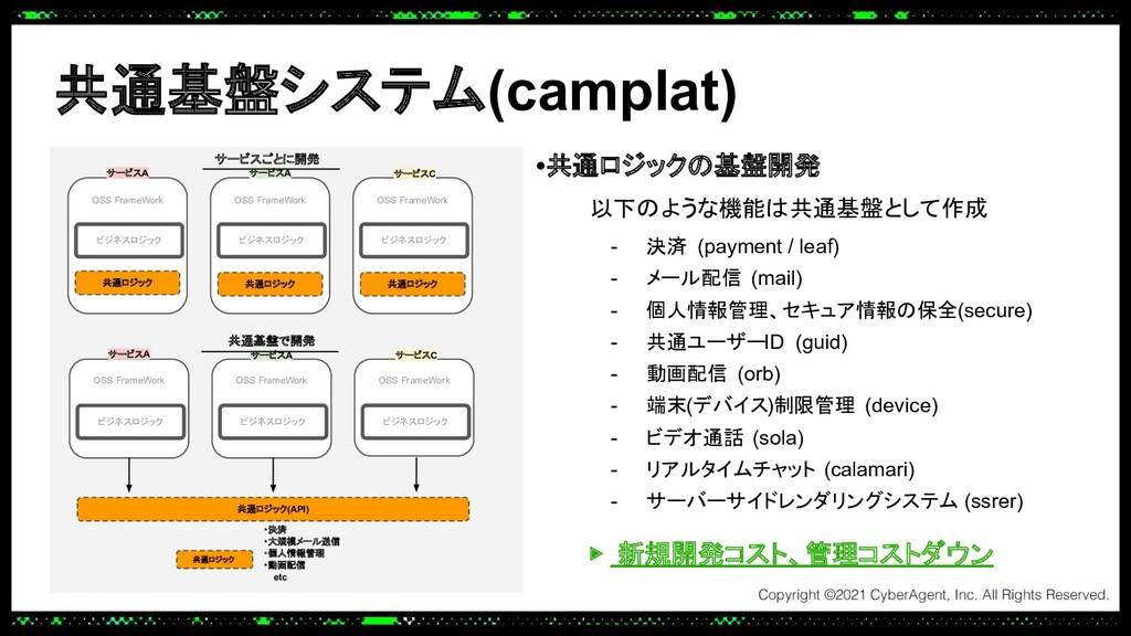 共通基盤システム(camplat) •共通ロジックの基盤開発 以下のような機能は共通基盤として...