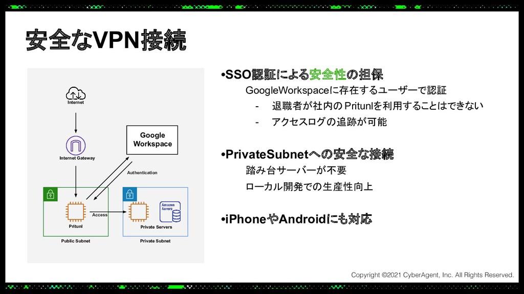 安全なVPN接続 •SSO認証による安全性の担保 GoogleWorkspaceに存在するユー...