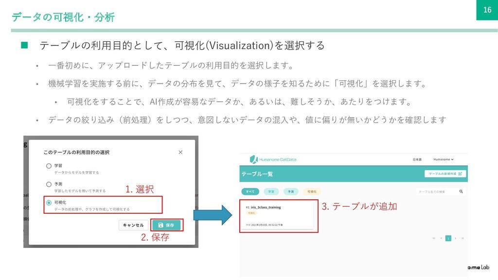 16 データの可視化・分析 n テーブルの利⽤⽬的として、可視化(Visualization)...