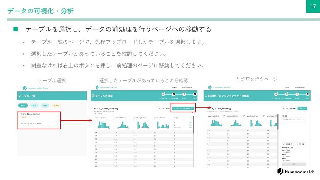 17 データの可視化・分析 n テーブルを選択し、データの前処理を⾏うページへの移動する • ...