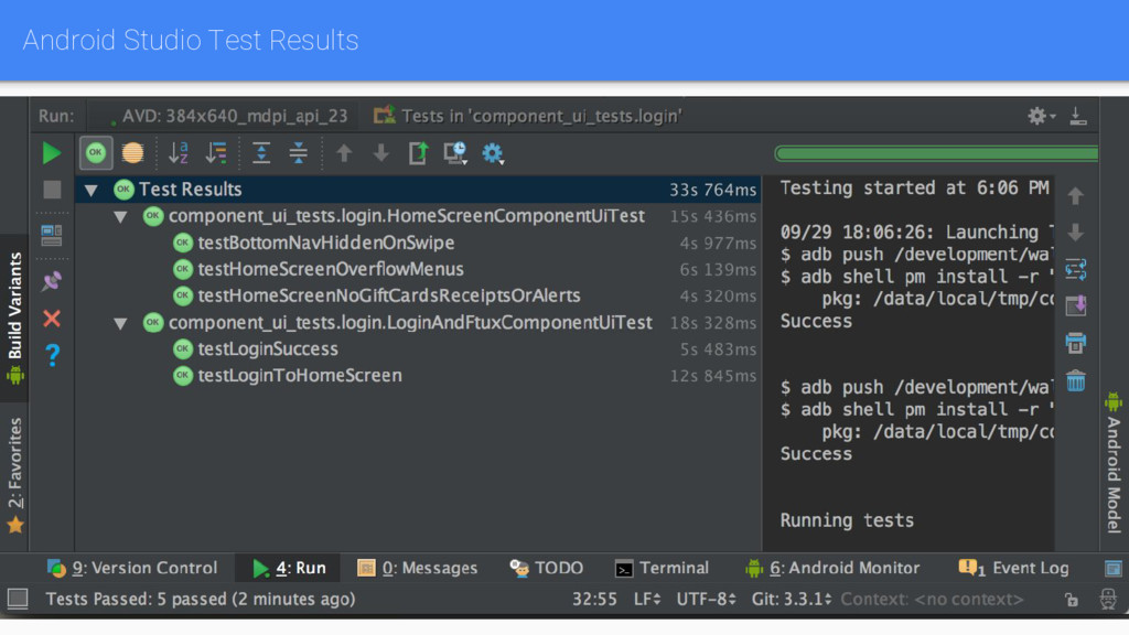 Android Studio Test Results