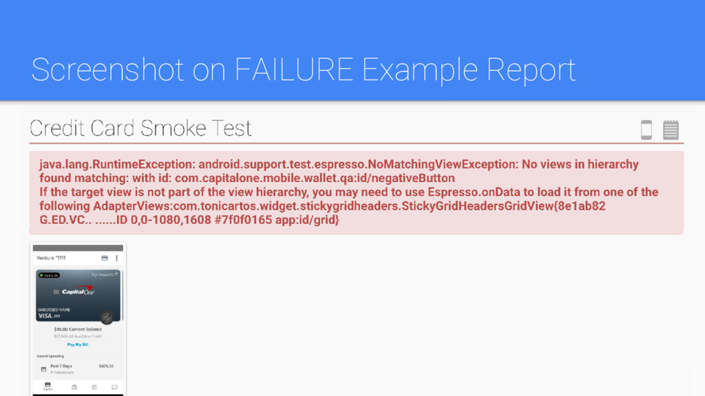 Screenshot on FAILURE Example Report